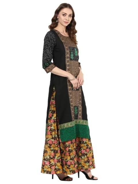 a8d004dd9 Black Cotton Block Prints Long Straight Kurti